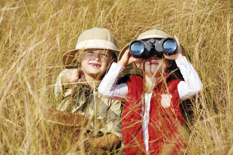 Children on safari (stock)