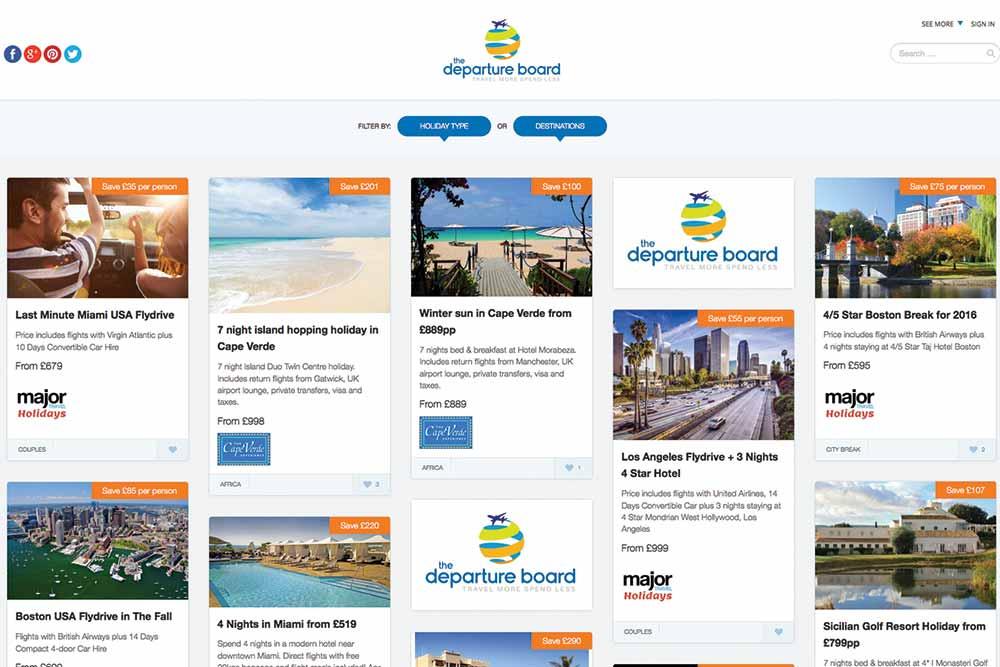 Thedepartureboard.co.uk website screenshot