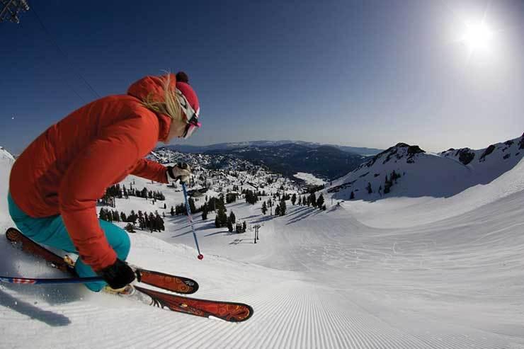 Squaw Valley Groomer skiing California