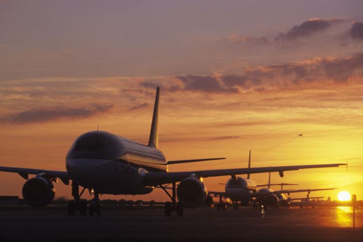 Aircraft, aeroplanes, in a queue