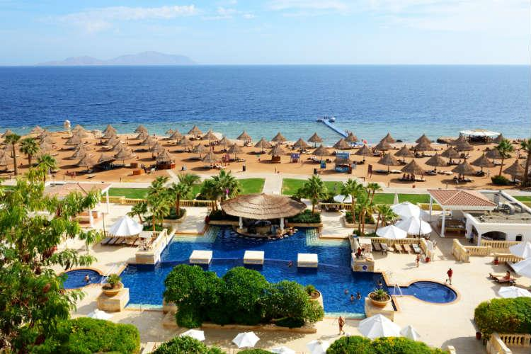 Sharm el Sheikh, Egypt - November 30, 2012: The tourists are on vacation at popular hotel. Up to 12