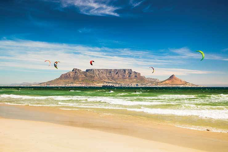 Kite surfers off Cape Town