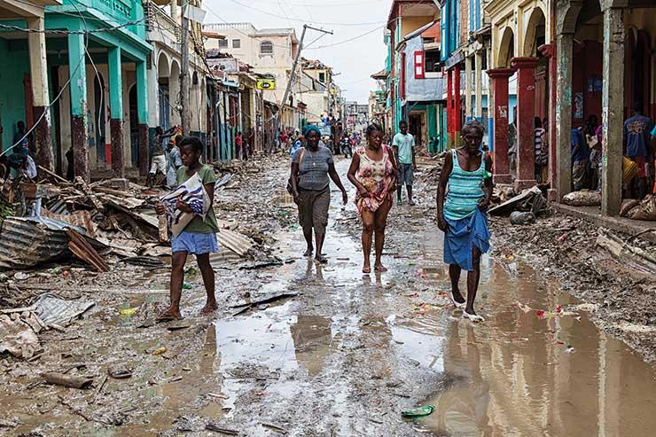 Haiti street after Hurricane Matthew