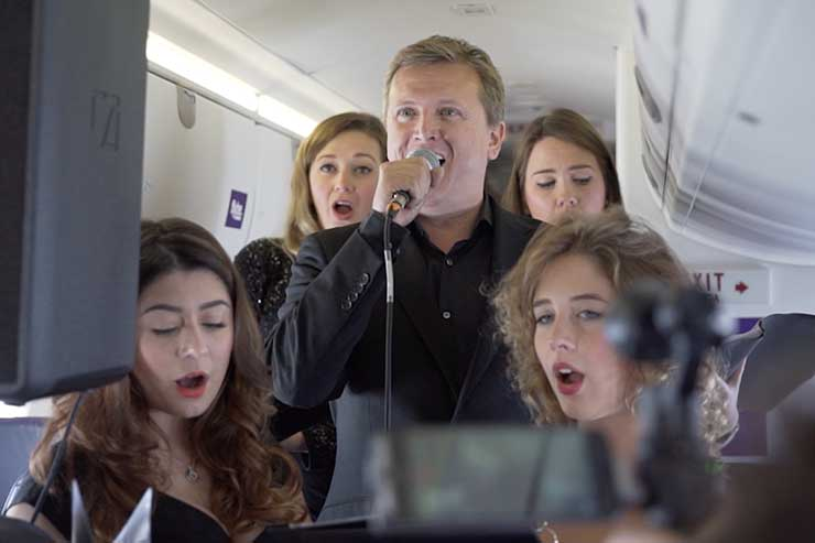 Aled Jones sings Walking In The Air at 18,000ft
