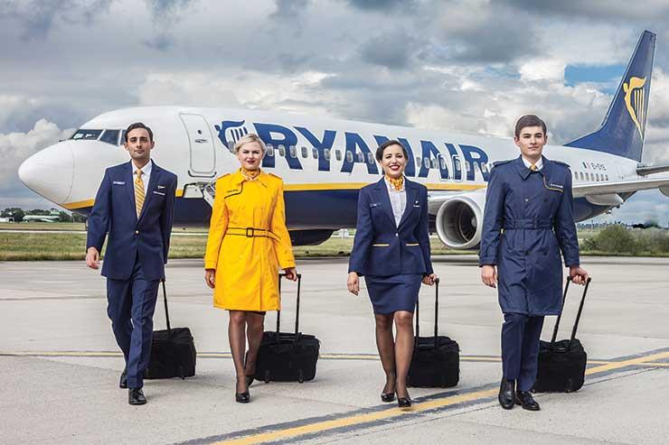Ryanair cabin crew on airstrip