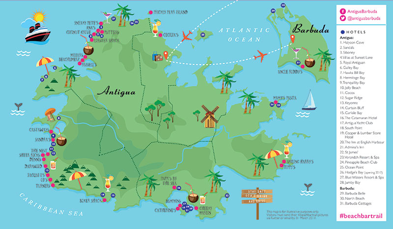 TTG - Sponsored - Follow Antigua and Barbuda's Beach Bar Trail A Map Of Antigua on a map of estonia, a map of st.thomas, a map of moldova, a map of san juan puerto rico, a map of tuvalu, a map of nevis, a map of galapagos, a map of the leeward islands, a map of vanuatu, a map of st. lucia, a map of andorra, a map of santo domingo, a map of french polynesia, a map of windward islands, a map of anguilla, a map of los cabos, a map of st vincent, a map of seychelles, a map of kazakhstan, a map of jersey,