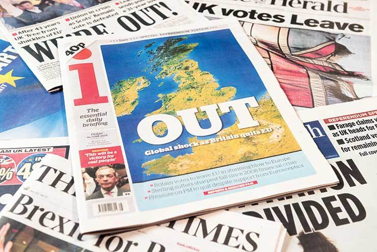 Brexit front page, national newspapers iStock-542321314