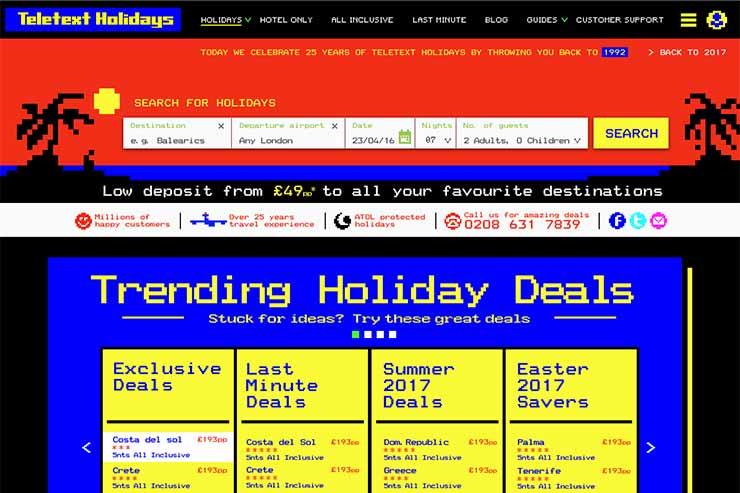 TeletextHolidays.co.uk's 25th anniversary retro rollback