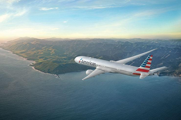 American Airlines 777-300 over coastline