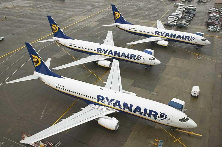 Parked Ryanair aircraft are on the move again