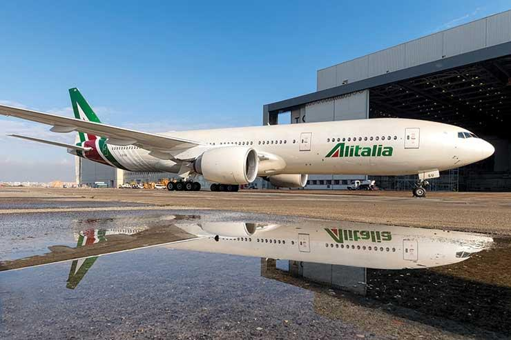 Alitalia jet by hangar