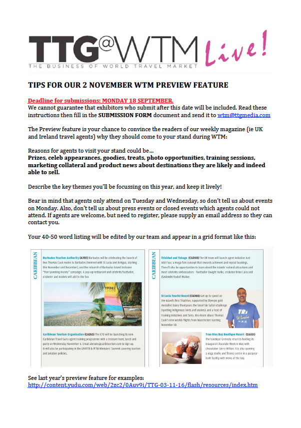 WTM 2017 TTG Preview feature Nov 2 edition - guidelines for PRs and exhibitors