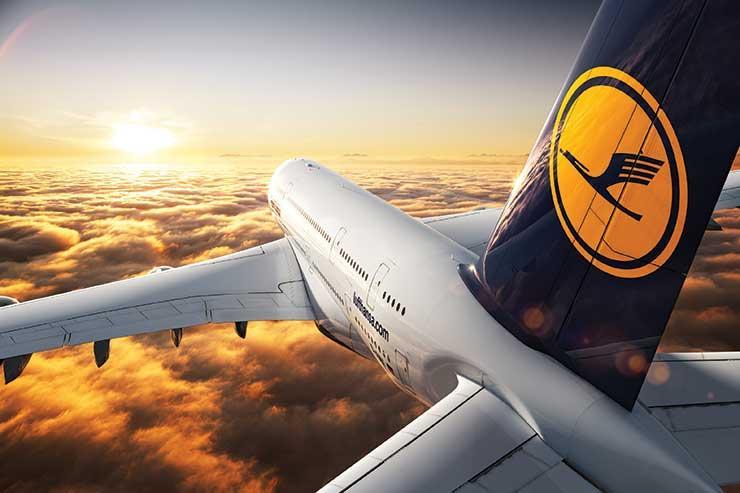 Lufthansa tailfin sunset