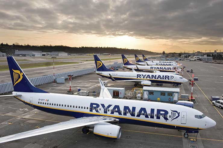 Ryanair aircraft lined up on stands