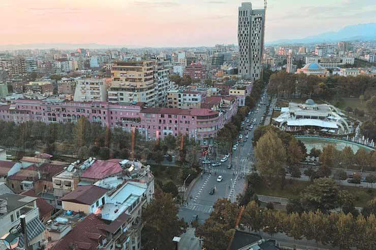 Views of Tirana from the Sky Tower bar