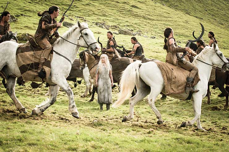 Daenarys Targaryan with the Dothraki on set in Northern Ireland