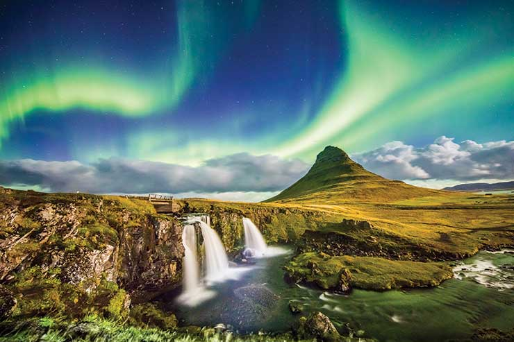Iceland scenery and northern lights