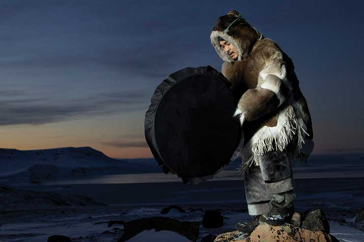 Inuit Drum Dancer Wearing Traditional Clothing