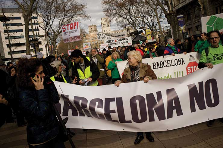 Barcelona residents protest overtourism in the city. Photo credit: Press Association