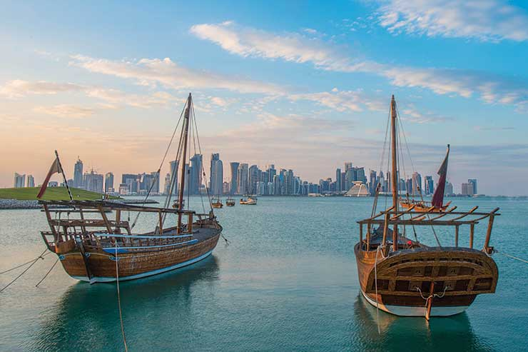 Boats moored in Qatar