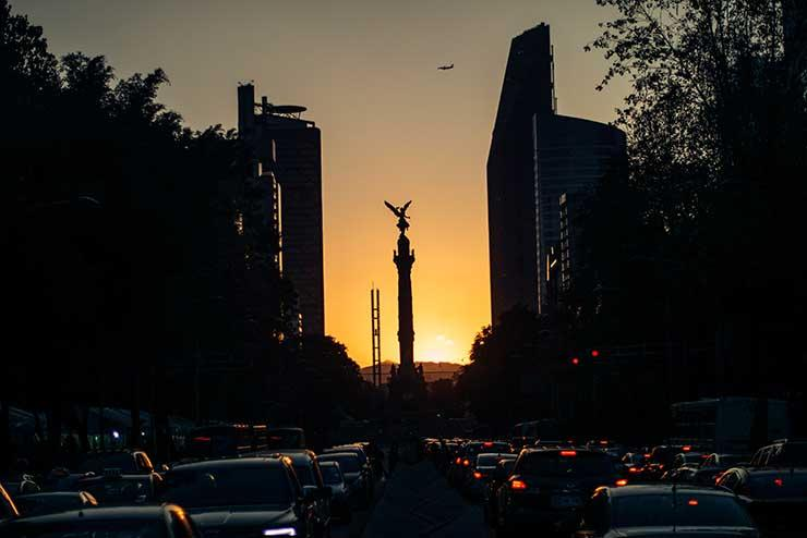 Mexico City dusk skyline