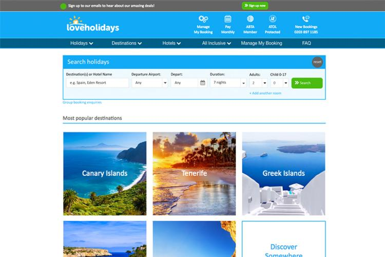 Loveholidays homepage 2018