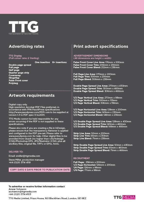 TTG magazine rates and specs