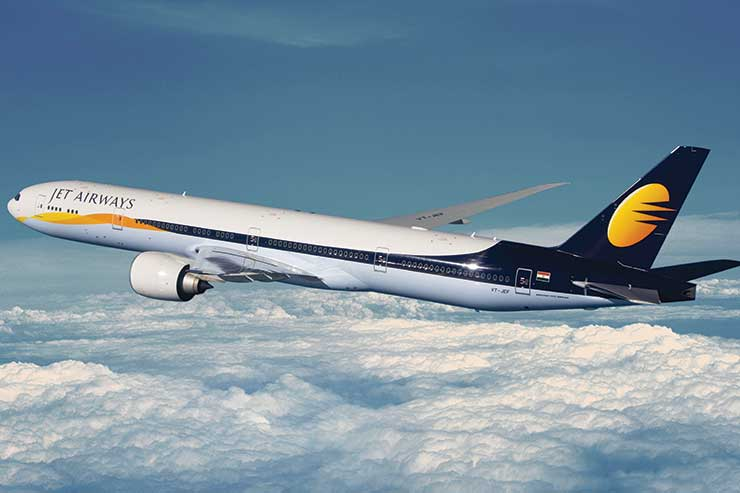 Jet Airways B777 in flight