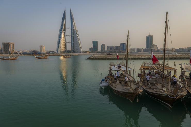 Manama Skyline and Dhow.JPG