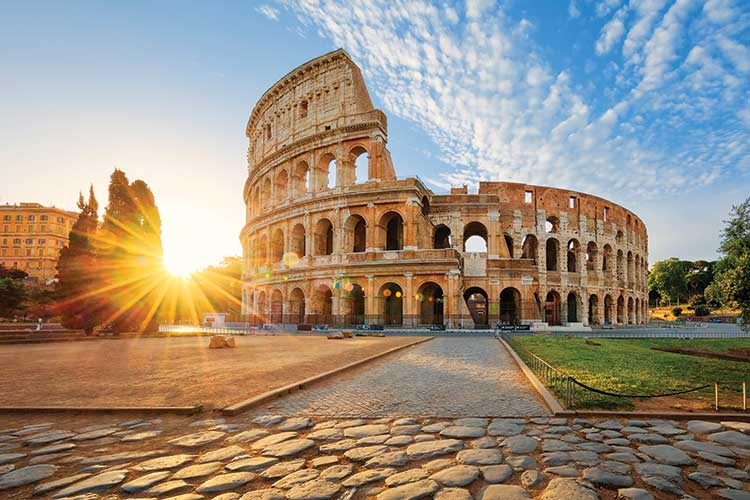 Colosseum in Rome at daybreak