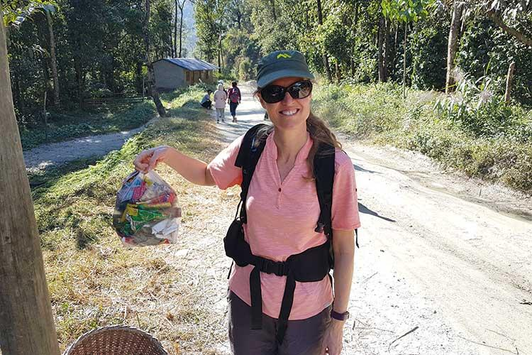 Aito litter picking in the Himalayas