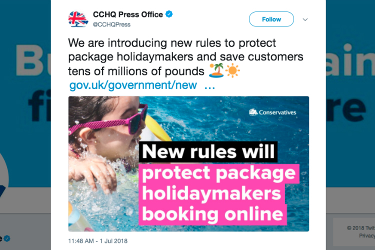 'Shameless' Tory party 'takes credit' for new package travel rules