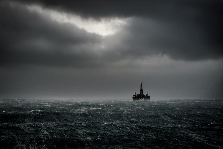 Oil platform on stormy seas