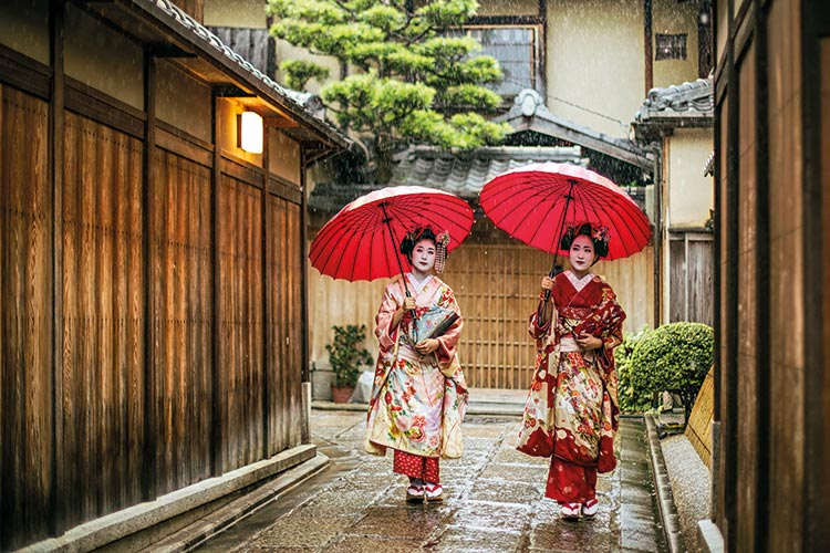 Ladies in traditional Japanese dress