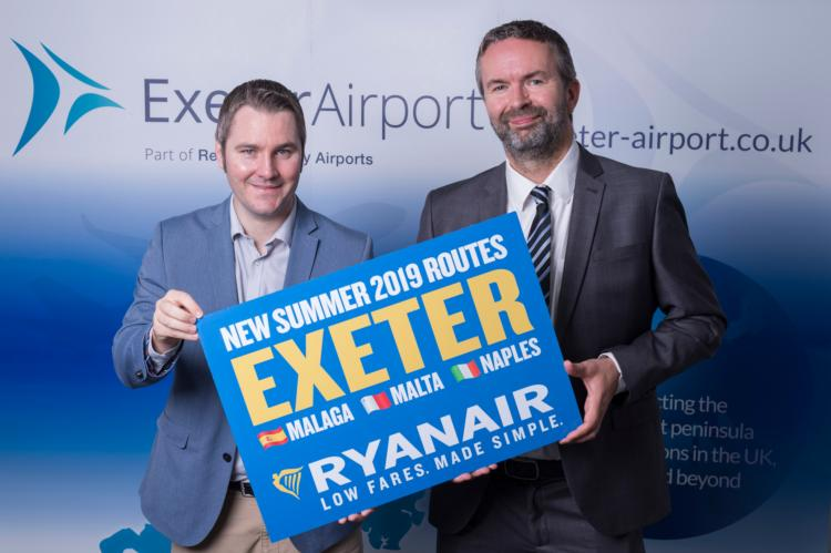 Ryanair to launch Malaga, Malta and Naples from Exeter