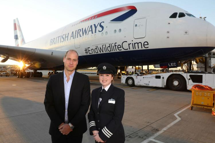 Prince William flies BA to start #EndWildlifeCrime campaign