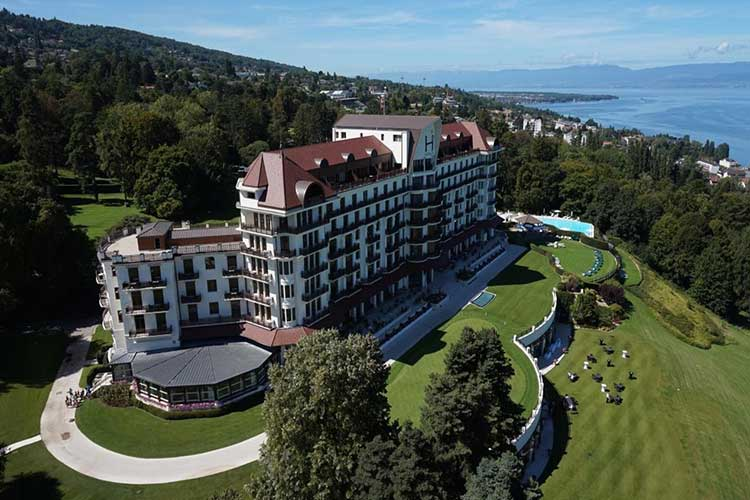Sampling the healthy waters of Evian-les-Bains
