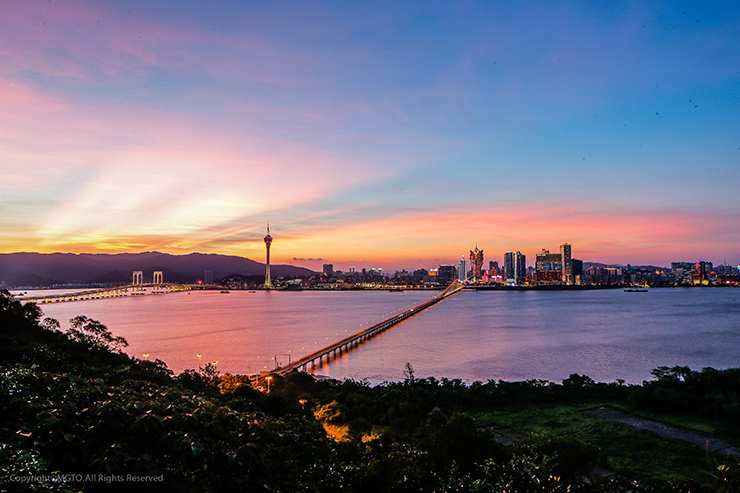 Macao's skyline at sunset