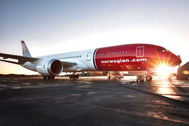 Norwegian aircraft at dawn