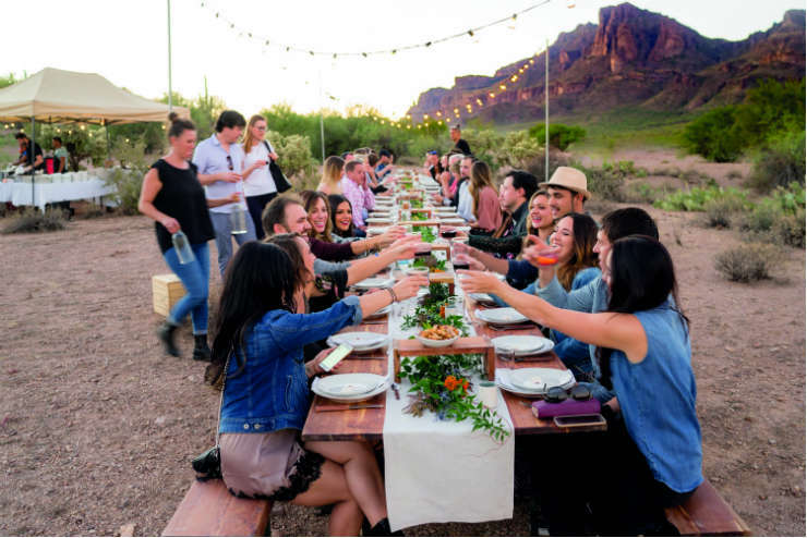 Group of friends eating outdoors in Arizona