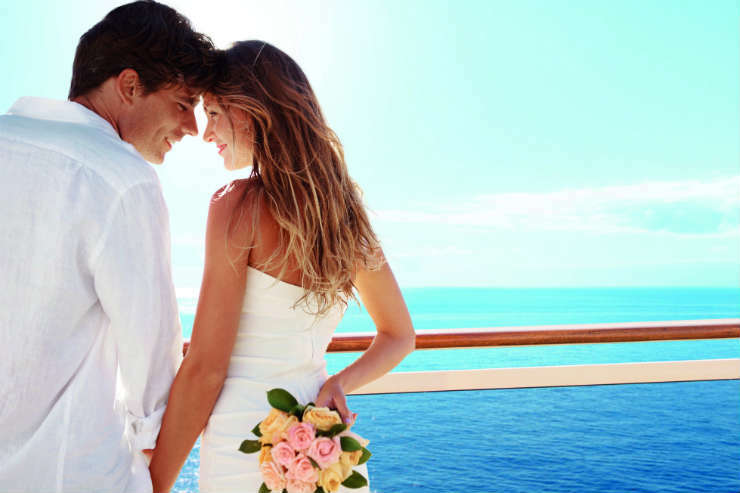 Couple getting married on a cruise ship