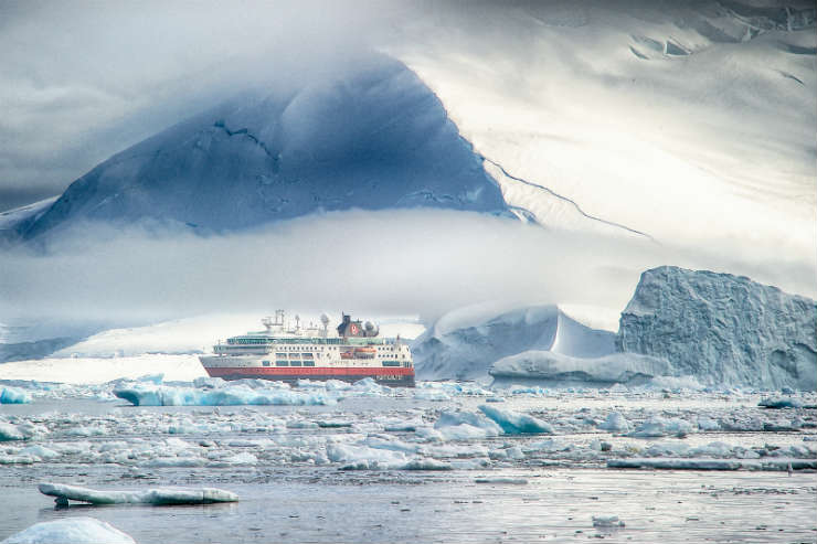 Hurtigruten ship sailing in Antarctica