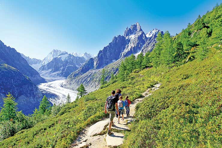 Family trekking in the Alps at Chamonix