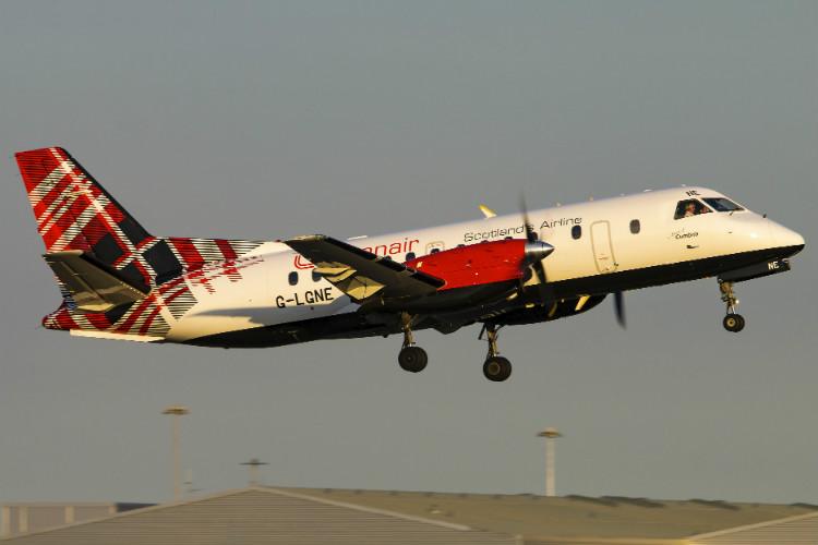 Loganair Saab 340 Carlisle Lake District launch Web.jpg