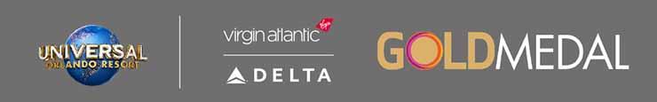 Gold Medal Delta Virgin Universal logos
