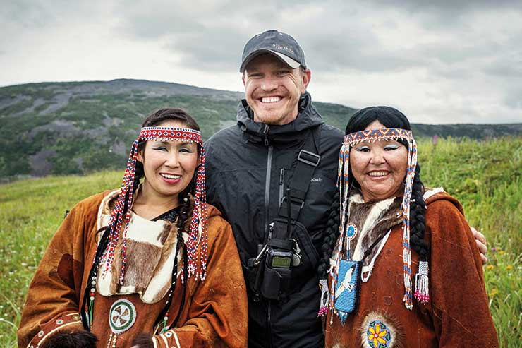Conrad in Kamchatka Russia with local women