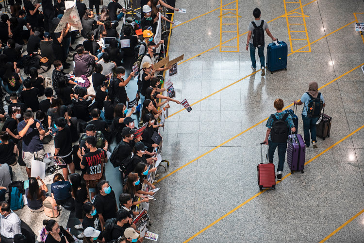 Hong Kong airport resumes flight operations following protests