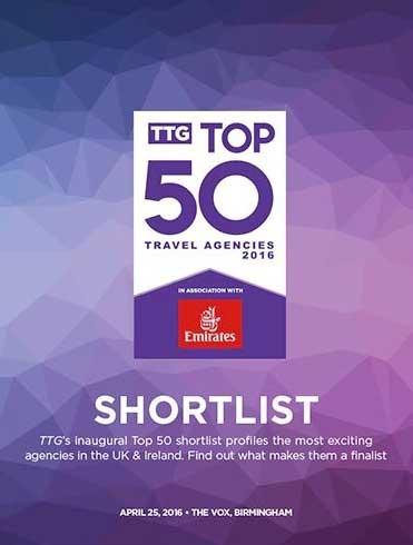 TTG Top 50 Travel Agencies 2016 shortlist