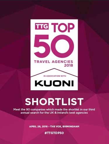 TTG Top 50 Travel Agencies 2018 Shortlist