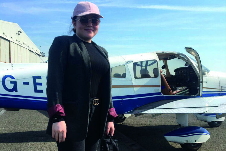 The 18-year-old completed her first flying lesson last month